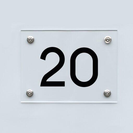 Hausnummernschild 20 - Hausnummer aus Acryl