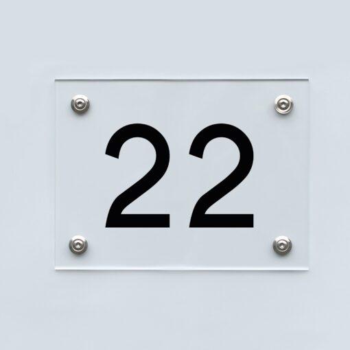 Hausnummernschild 22 - Hausnummer aus Acryl