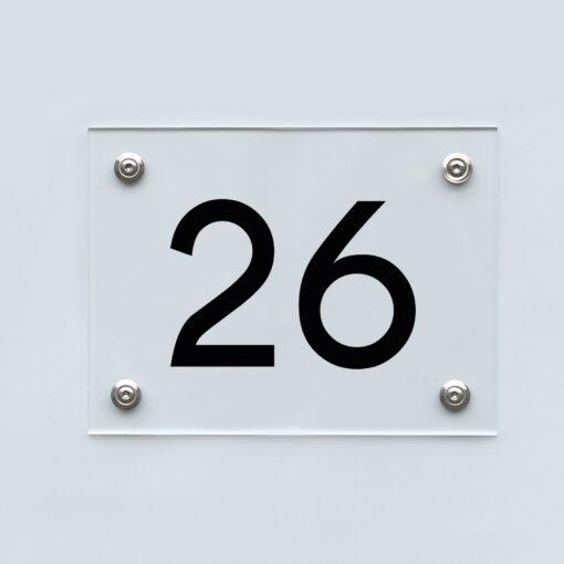 Hausnummernschild 26 - Hausnummer aus Acryl