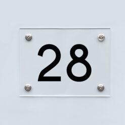 Hausnummernschild 28 - Hausnummer aus Acryl