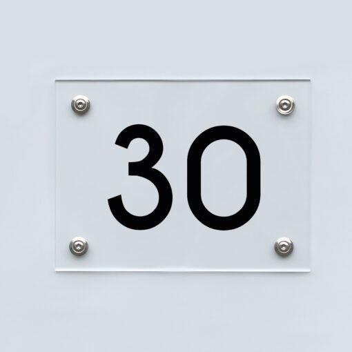 Hausnummernschild 30 - Hausnummer aus Acryl