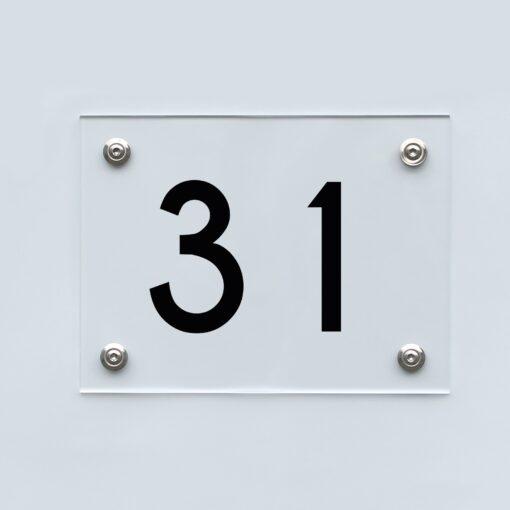 Hausnummernschild 31 - Hausnummer aus Acryl