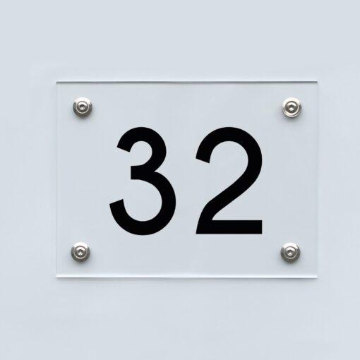 Hausnummernschild 32 - Hausnummer aus Acryl