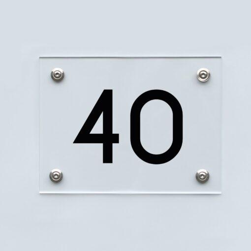 Hausnummernschild 40 - Hausnummer aus Acryl
