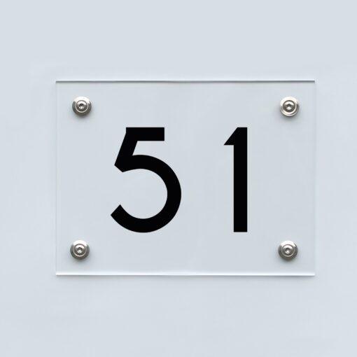 Hausnummernschild 51 - Hausnummer aus Acryl