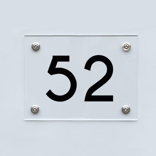 Hausnummernschild 52 - Hausnummer aus Acryl