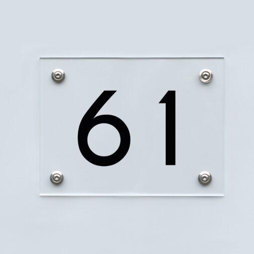 Hausnummernschild 61 - Hausnummer aus Acryl
