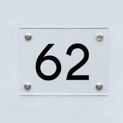 Hausnummernschild 62 - Hausnummer aus Acryl