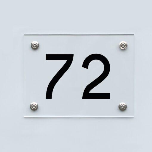Hausnummernschild 72 - Hausnummer aus Acryl